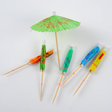 Wholesale Birthday Wedding Party Paper Wooden Custom Toothpick Cocktail Umbrellas for Drink