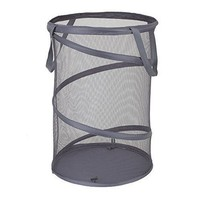 Spiral foldable pop up round mesh laundry hamper
