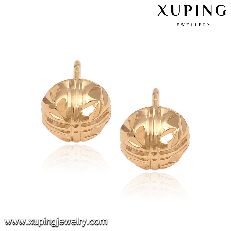 91581 Fashion Wholesale Gold Pated Hip Hop Stud Earrings For Women