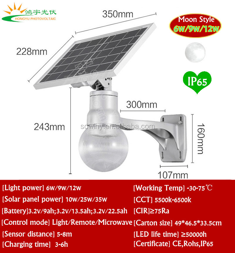 Moon design remote control All in one LED solar panel garden lights with motionsensor