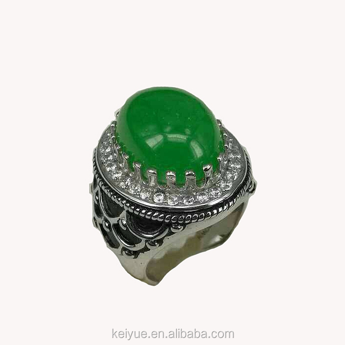 Oxidized Antique natural agate green arab men Turkish Ottoman ring