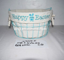 Hot Cheap Children Wire Basket with Embroidery Liner