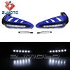 "Blue 7/8"" Turn Signal Light 8 LED Brush scooter Handlebar Hand Guard For YZ YZF YZF 250 YZ250F"