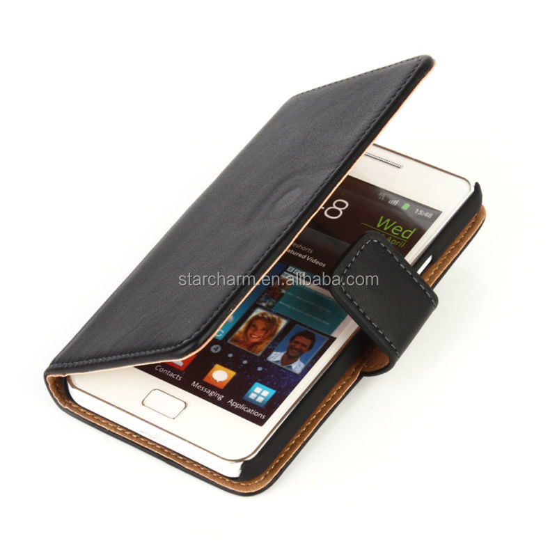 Classical Genuine Leather Cell Phone Case for Samsung I9100 Galaxy S II