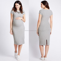 Maternity Ribbed Dress Korean Style Manternity Plain Dyed Cotton Short Sleeve Dresses Wholesale Pregnant Women Dresses