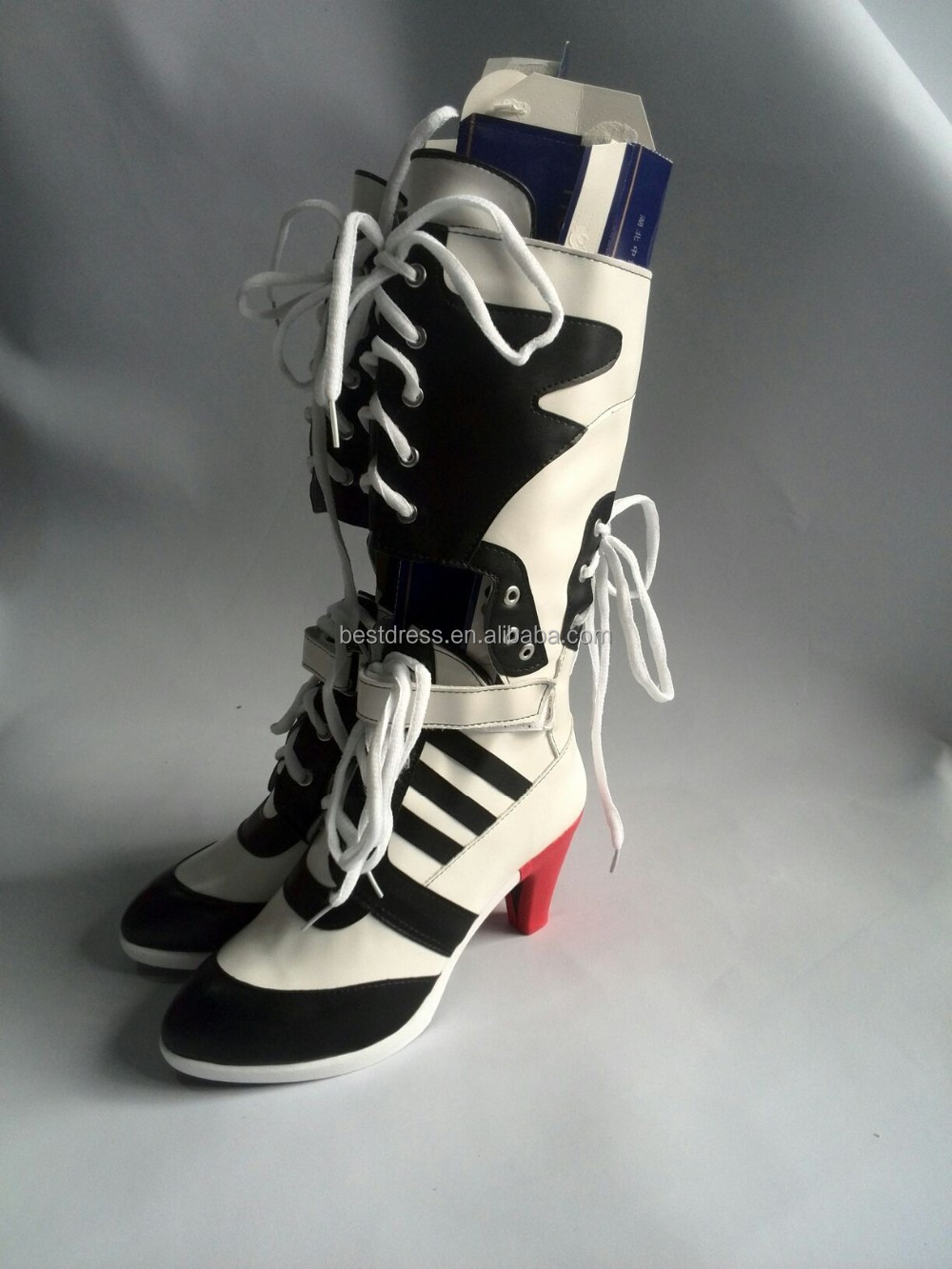 Cheapest DC Comics Suicide Squad Harley Quinn Cosplay Boots High Quality Costume