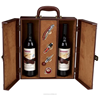 new luxury high-quality leather goods double bottle wooden wine box
