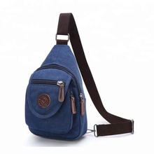 Fashion outdoor travel canvas cross body shoulder chest pack teen satchel men one strap sling casual daily retro chest bag