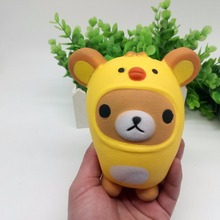 Squishy Slow Rising PU Hot Sale Kawaii Cartoon Animal Yellow Chicken Squeeze Funny Toys For Kids