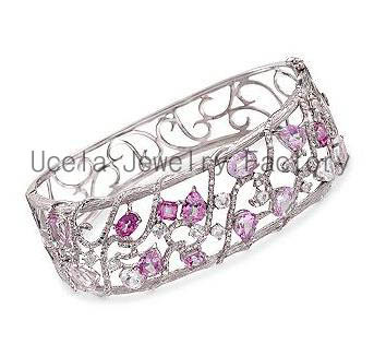 2014Pink and White Topaz Diamonds Bangle Bracelet 22k white gold mesh bangle bracelet