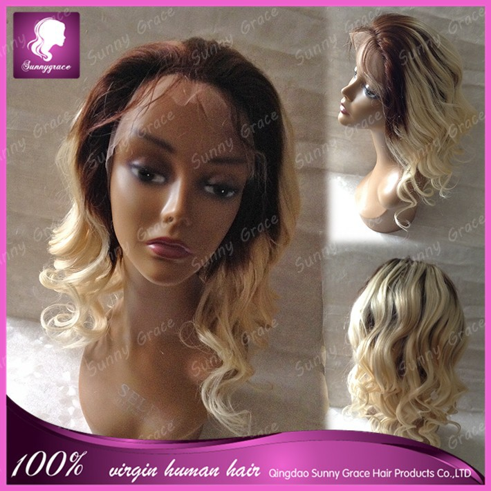 2015 Best selling Unprocess virgin human hair Two tone ombre hair full lace wigs with baby hair for fashion women