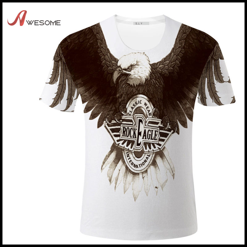 Men's short sleeve crew neck t shirt with 3D Rock Eagle wings print over the shoulder
