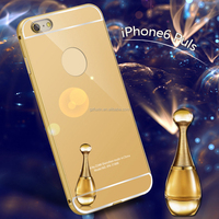 24K gold Luxury Aluminum metal bumper mirror phone case for iPhone 5/6/6plus