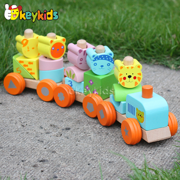 2016 wholesale baby wooden pull train toy, lovely kids wooden pull train toy, popular children wooden pull train toy W04A066