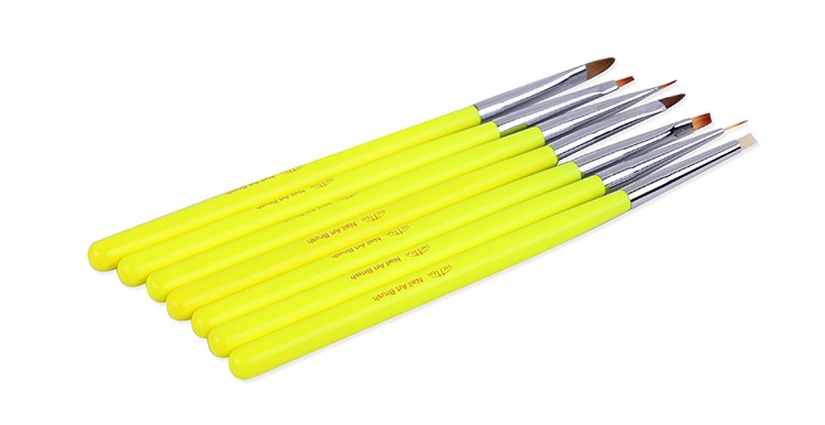 New 7PCS/Set yellow color nail Art Acrylic Brushes painting pen liner drawing