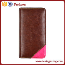 Desimon factory wallet stand patchwork flip leather case for iphone 6