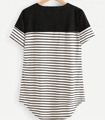 women's fashion casual Contrast Panel Curved Hem Striped Longline Tee custom wholesale