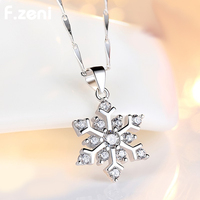 New Women Christmas Gift CZ Quality Long Chain Snowflake Flower Pendant Sweater Necklace