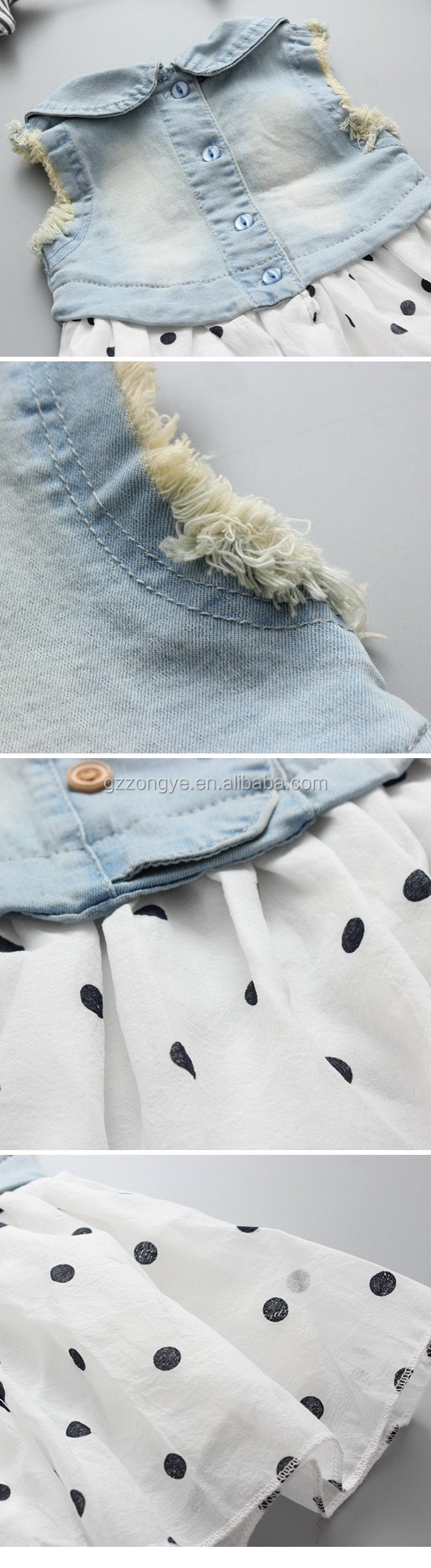 Children wear clothes little girl sleeveless denim clothing coat short ruffle dress suits