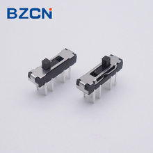 2P3T through hole terminal 8 pin sliver plate slide switch with 3 position