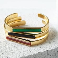 Custom Stainless Steel 18K Gold Jewelry Men and Women Colored Nature Stone Onyx Vermeil Urban Gemstone Cuff Bangle Bracelet