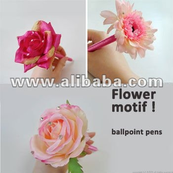 FLOWER MOTIF BALLPOINT PENS/ Stationery for Kids, Girls, Females and Women