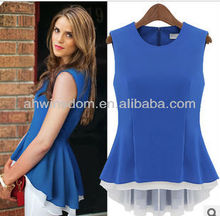 EUROPEAN STYLE FAKE 2 PIECES LADY'S BLOUSE