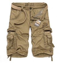 Hot Cargo 3/4 Pants Men's Military Casual Pants Baggy Shorts Pockets Cargo Short