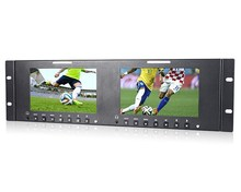 "FEELWORLD 7""x2 Dual rackmount lcd monitor with HDMI and AV For Ob Van Or Hd Trucks"