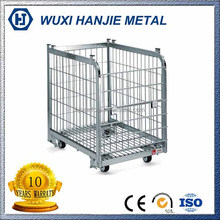Galvanized steel wire container welded mesh storage cage with wheels