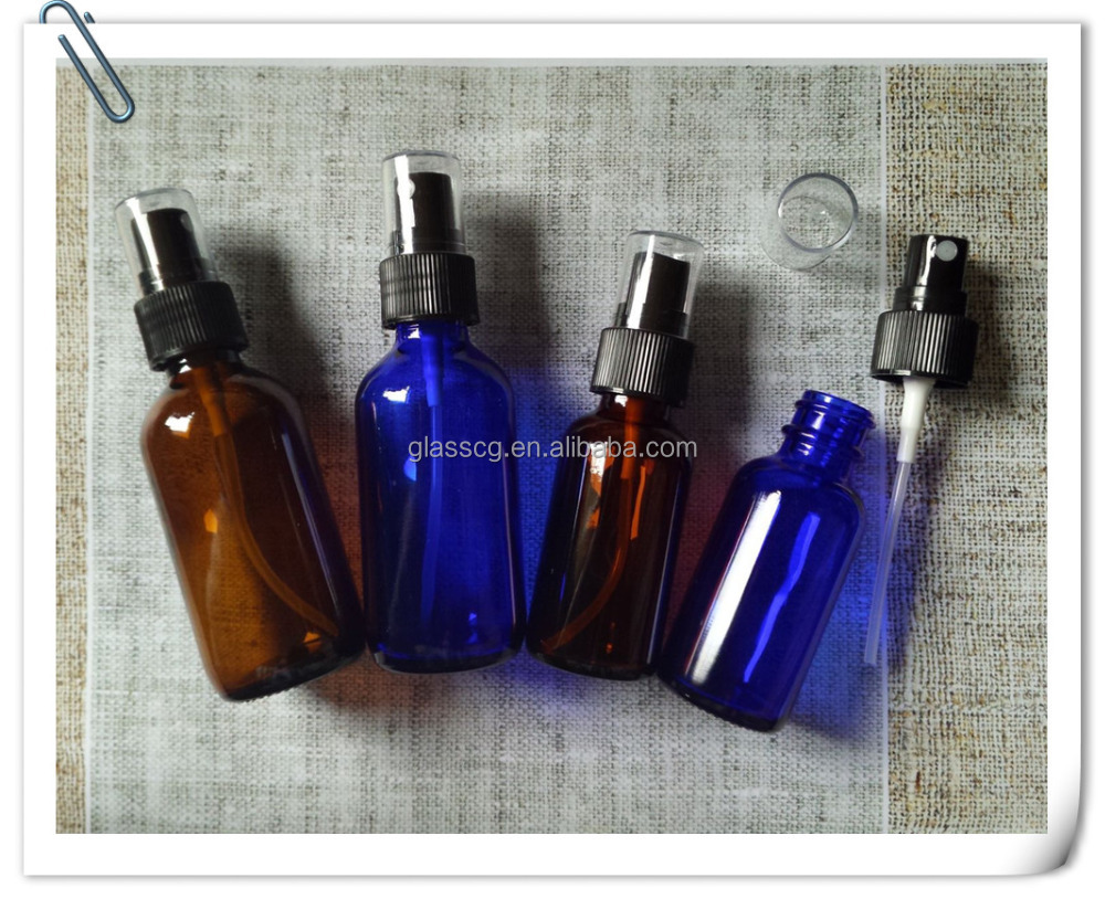 Free samples 30ml 1oz amber blue glass bottle with <strong>spray</strong>