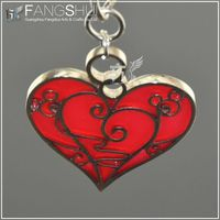 2014 heart shape metal keychain/stained glass cut out metal keychain manufacturing