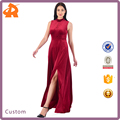 customize hot selling dress women,red velvet long party dress for fat women
