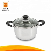 Glass Lid Stainless Steel Cooking Pot Cookware Set With Double Handle