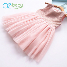Q2-baby Wholesale Spring Sequin Net Bubble Tank Bowknot Birthday Party Baby Girls' Dress