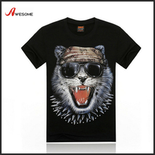 2016 garment factory black T-shirt with 3D animal screen printing for Men