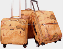 "yellow map unique 3 Piece Spinner suitcase Set - 20"" 24"" 28"" rolling luggage travel set carrier"