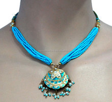 Gorgeous wedding Gift Turquoise Lakh Necklace and Earring Set