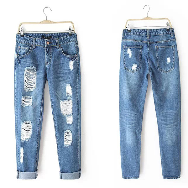 2015 New Women Loose Jeans Denim Pencil Trousers Wild Fashion Hole Jeans Pants Ripped Jeans For Women