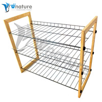 Vivinature 12-pair shoe rack black steel wire with wood frame