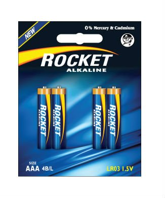 LR03, AAA size, 4 Blister packing, Alkaline