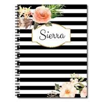 Myway Personalized Classic Floral and Stripe Spiral Notebook/Journal, 120 College Ruled or Checklist Pages, durable laminated
