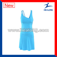 hot sale plain blue elegant sexy fitness tennis uniform for ladies