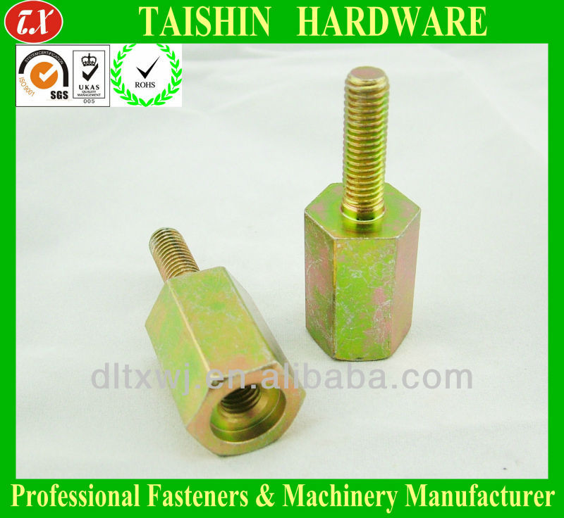 Yellow Zinc Plated Hexagon Male Female Screws / Threaded Standoffs Bolts