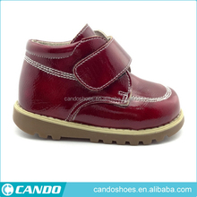 Hot Design Dark Red Patent PU Leather Vamp Magic Tape Casual Shoe Service Shoes Prices In Pakistan Sport Shoe Making Machine