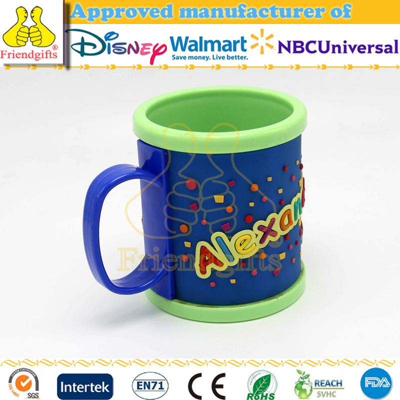 Custom design personalized plastic mug colorful 3D pvc soft rubber mugs