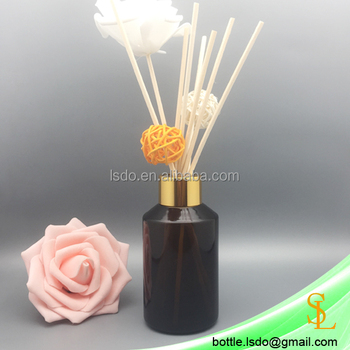 High quality 120ml /4oz amber round reed diffuser glass bottle decorative with screwing gold cap