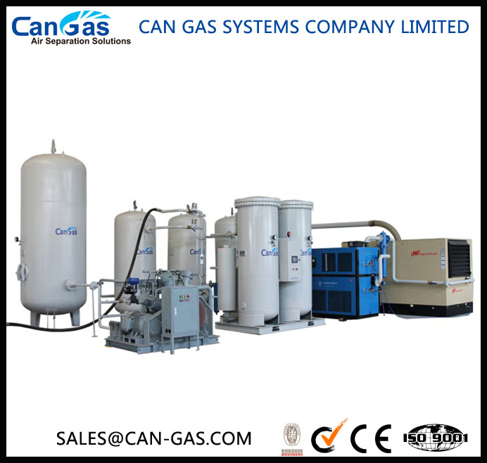 Oxygen gas making and cylinder refilling machine