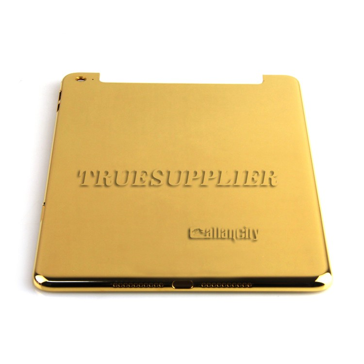 3 micron Luxury Dubai Gift Shiny 24kt gold plated back cover housing battery door for iPad mini 4 4G+wifi edition