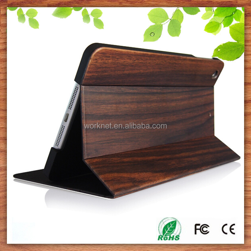 new products 2016 flip real wood book stand wallet cases for ipad mini, natural bamboo wooden tablet cases for ipad mini 4